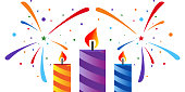 Festive fireworks and colorfull candles. Eps 10
