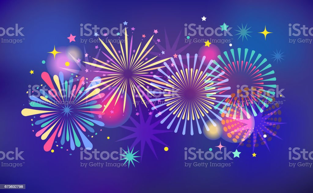 Fireworks and celebration background, winner, victory poster and banner vector art illustration