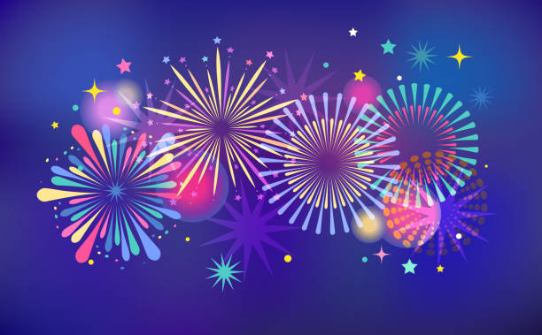 fireworks and celebration background, winner, victory poster and banner - anniversary backgrounds stock illustrations