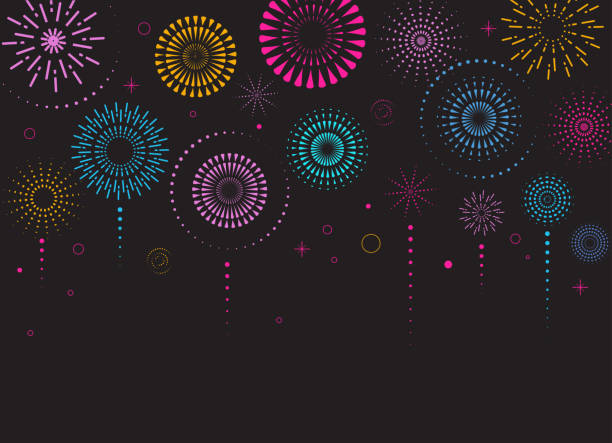 Fireworks and celebration background, winner, victory poster Fireworks and celebration background, winner, victory poster, banner sparklers stock illustrations