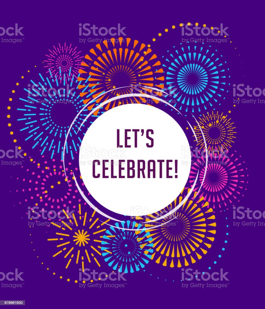 Fireworks and celebration background, winner, victory poster vector art illustration