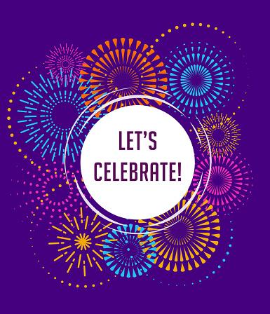 Fireworks And Celebration Background Winner Victory Poster Stock Illustration - Download Image Now