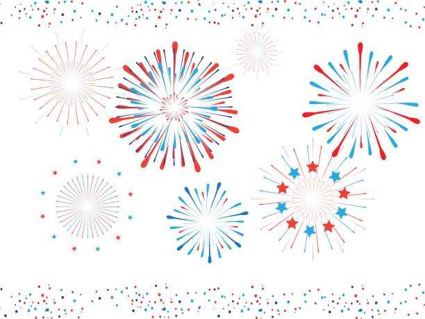 Fireworks and confetti Beautiful Fireworks and confetti for Independence Day USA, Labor Day, Veteran Day, Memorial national Holiday Event Patriotic background, decoration. Set of Fireworks shapes and confetti. Vector Illustration circa 4th century stock illustrations
