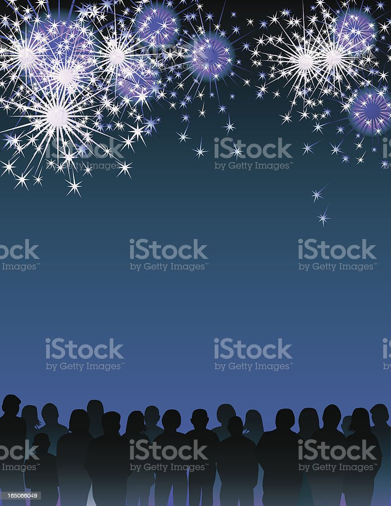 Fireworks and crowd royalty-free stock vector art