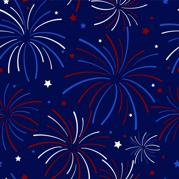 Fireworks and Stars Seamless Pattern Festive exploding fireworks and stars filling the night sky seamless pattern in colors of red, white, blue, and navy blue fireworks stock illustrations