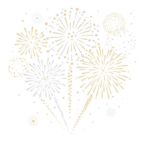 ilustrações, clipart, desenhos animados e ícones de fogos-de-artifício e ilustração do vetor das estrelas - new year