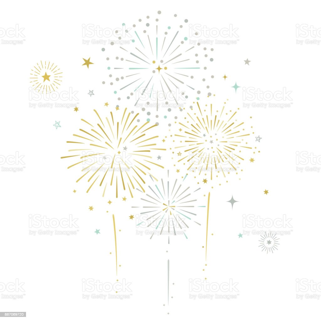 Fireworks and stars vector illustration - Royalty-free Aniversário especial arte vetorial