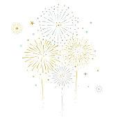 Fireworks and stars vector illustration