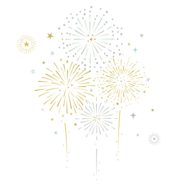 fireworks and stars vector illustration - fireworks stock illustrations