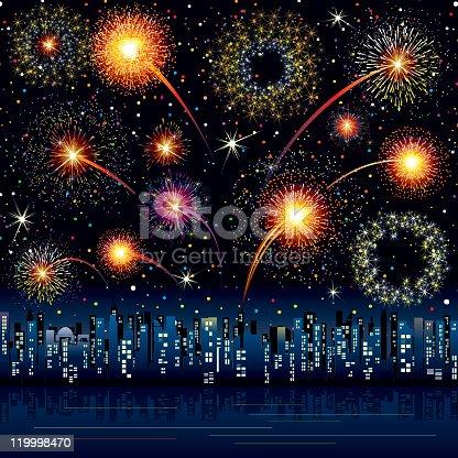Festive fireworks over night cityscape