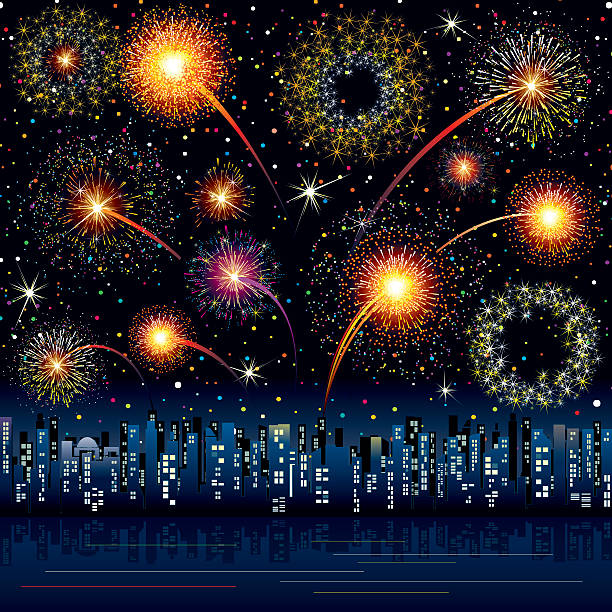 Fireworks at the City Festive fireworks over night cityscape changing form stock illustrations