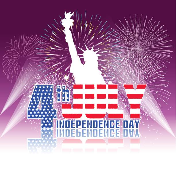 fireworks background for usa independence day. fourth of july celebrate - fourth of july stock illustrations