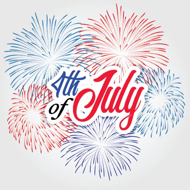 fireworks background for usa independence day fourth of july celebrate vector art illustration
