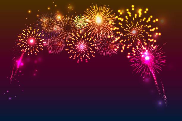 ilustrações, clipart, desenhos animados e ícones de fundo de fogos de artifício com espaço para texto. vetor de ilustração. - fireworks sky