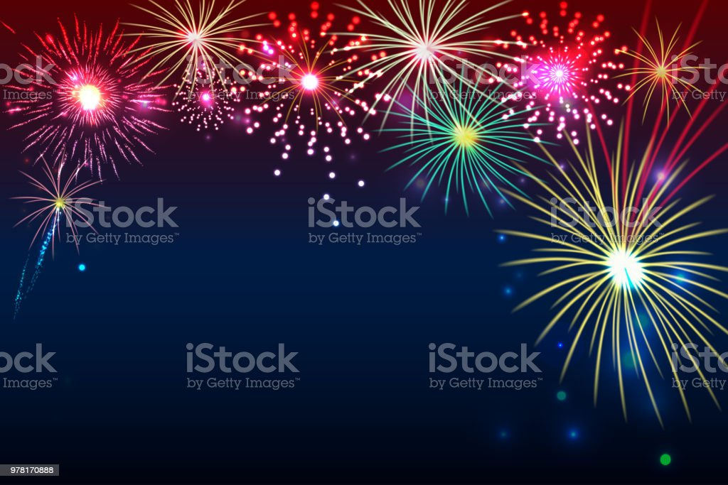 fireworks background with space for text. illustration vector. new year celebration Abstract stock vector