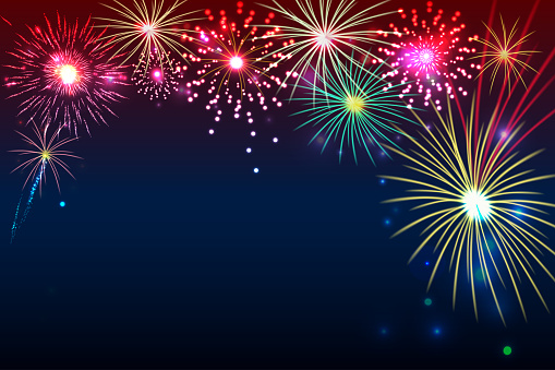 Fireworks Background With Space For Text Illustration Vector Stock Illustration - Download Image Now