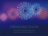 Fireworks background with text space, vector illustration.