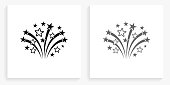 Fireworks Black and White Square Icon. This 100% royalty free vector illustration is featuring the square button with a drop shadow and the main icon is depicted in black and in grey for a roll-over effect.