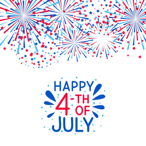 fireworks border for independence day design - happy 4th of july stock illustrations