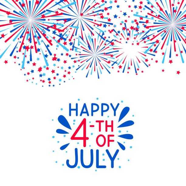 獨立日設計的煙花邊界 - happy 4th of july 幅插畫檔、美工圖案、卡通及圖標