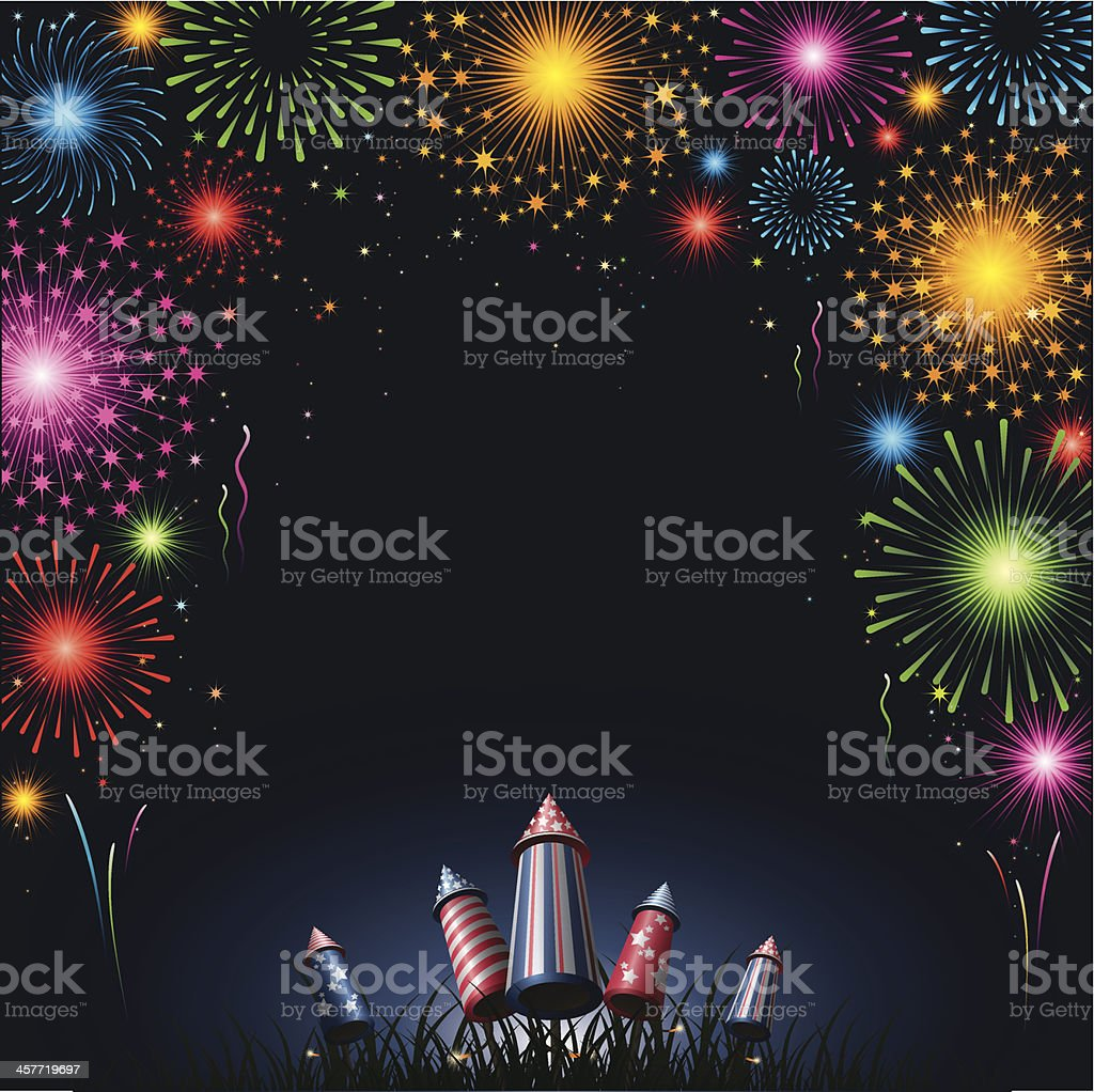 Fireworks - border - background for 4th of July American Culture stock vector