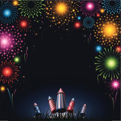 Fireworks Border Stock Illustration - Download Image Now