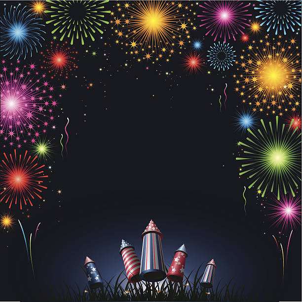 Fireworks - border vector art illustration