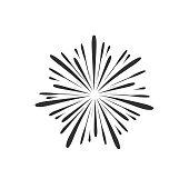 Fireworks display celebration icon in black flat outline design