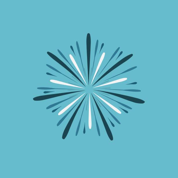 Fireworks display celebration icon in flat design with blue background vector art illustration