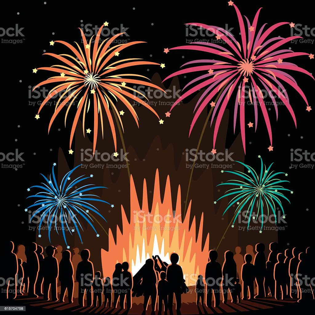 Fireworks Display Flyer Vector Illustration Poster vector art illustration