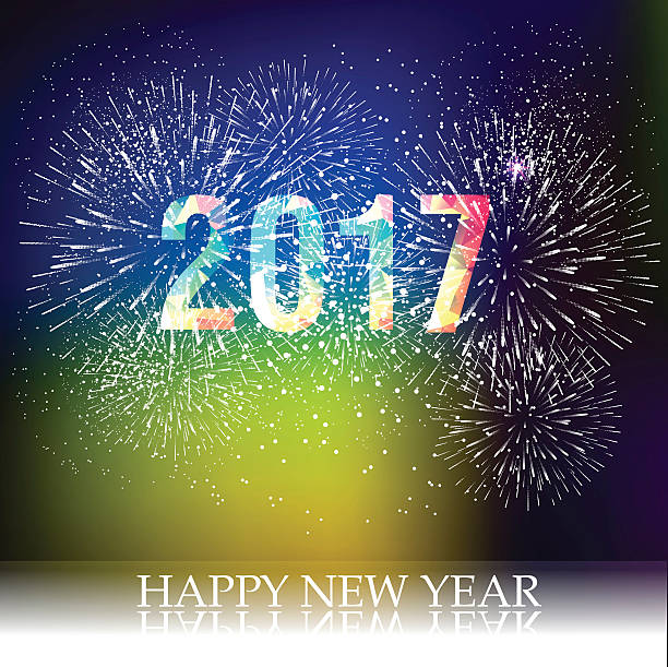 fireworks display for happy new year 2017 vector art illustration