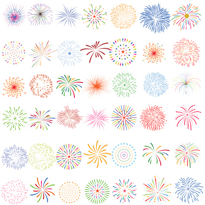 Fireworks Display For New Year And All Celebration Vector Illustration Stock Illustration - Download Image Now
