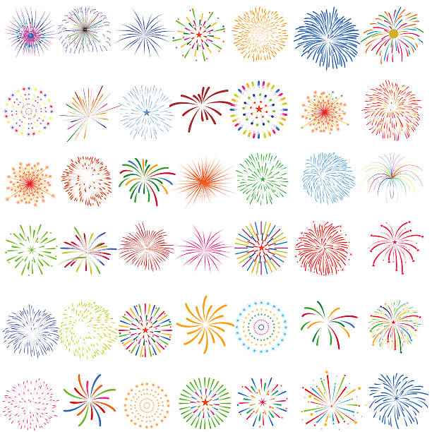 fireworks display for new year and all celebration vector illustration - fireworks 幅插畫檔、美工圖案、卡通及圖標