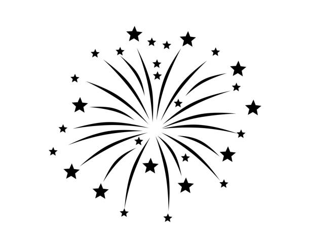 fireworks display on white - fireworks stock illustrations