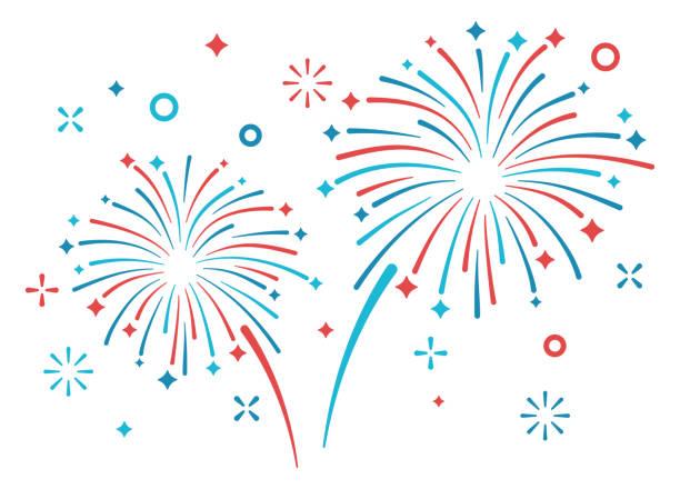 Fireworks Display Fireworks display patriotic display. firework display stock illustrations