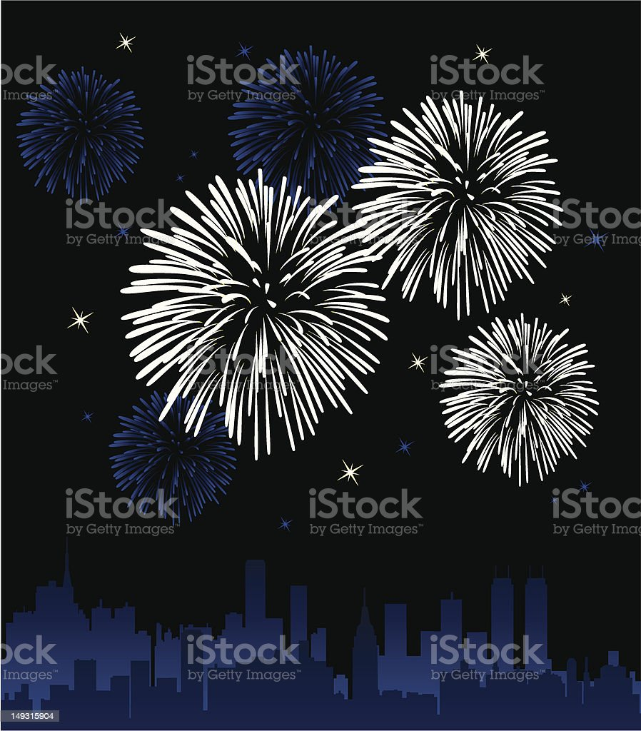 Fireworks exploding in the sky royalty-free stock vector art