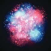 Fireworks explosion concept isolated on black. EPS 10 file. Transparency effects used on highlight elements.