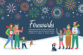 Fireworks festival invitation with happy families celebrating New Year holidays