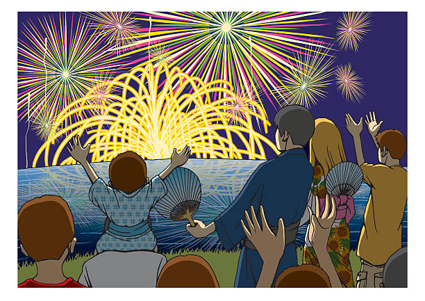 Royalty Free Family Watching Fireworks Clip Art, Vector ...