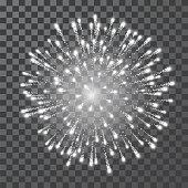 Fireworks. Festival white firework. Vector llustration on transparent background.
