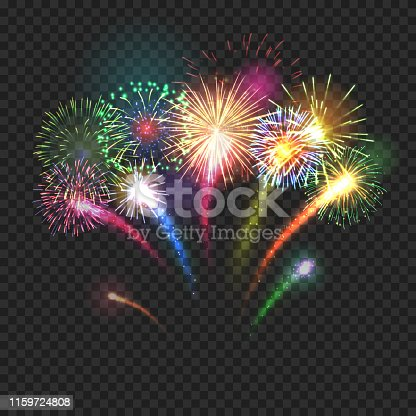 Bursting fireworks festive background with brightly shining sparks. Realistic fireworks explosions vector illustration on transparent background. Beautiful colorful light performance object.