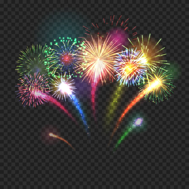 Fireworks festive background with shining sparks Bursting fireworks festive background with brightly shining sparks. Realistic fireworks explosions vector illustration on transparent background. Beautiful colorful light performance object. firework display stock illustrations