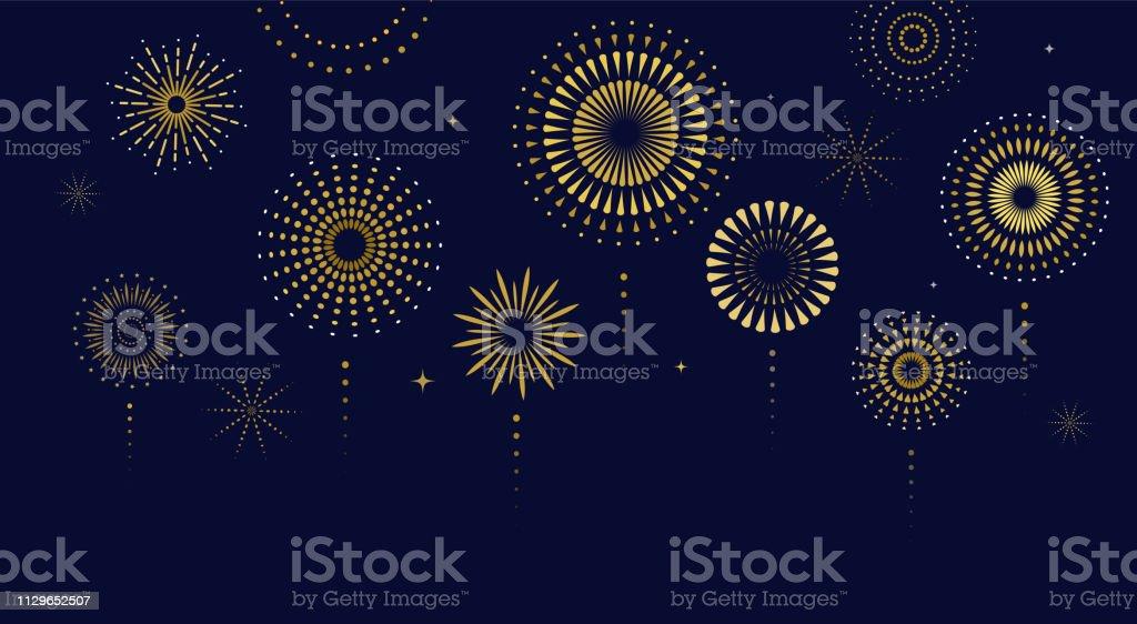 Fireworks, firecracker at night, celebration background, winner, victory poster, banner - vector illustration - Royalty-free 4 de Julho arte vetorial