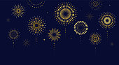 Fireworks, firecracker at night, celebration background, winner, victory poster, banner template - vector illustration