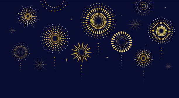 fireworks, firecracker at night, celebration background, winner, victory poster, banner - vector illustration - fireworks stock illustrations