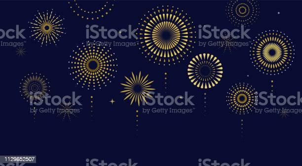 Fireworks Firecracker At Night Celebration Background Winner Victory Poster Banner Vector Illustration - Arte vetorial de stock e mais imagens de 4 de Julho