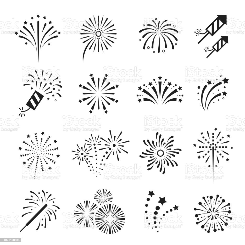 Fireworks, firecracker festival event and holiday fun. Fireworks, firecracker festival event and holiday fun. Explosions for display or in celebrations. Vector line art illustration isolated on white background Art stock vector