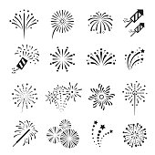 Fireworks, firecracker festival event and holiday fun. Explosions for display or in celebrations. Vector line art illustration isolated on white background