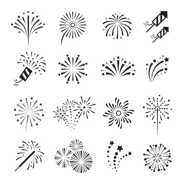 Fireworks, firecracker festival event and holiday fun. Fireworks, firecracker festival event and holiday fun. Explosions for display or in celebrations. Vector line art illustration isolated on white background firework display stock illustrations