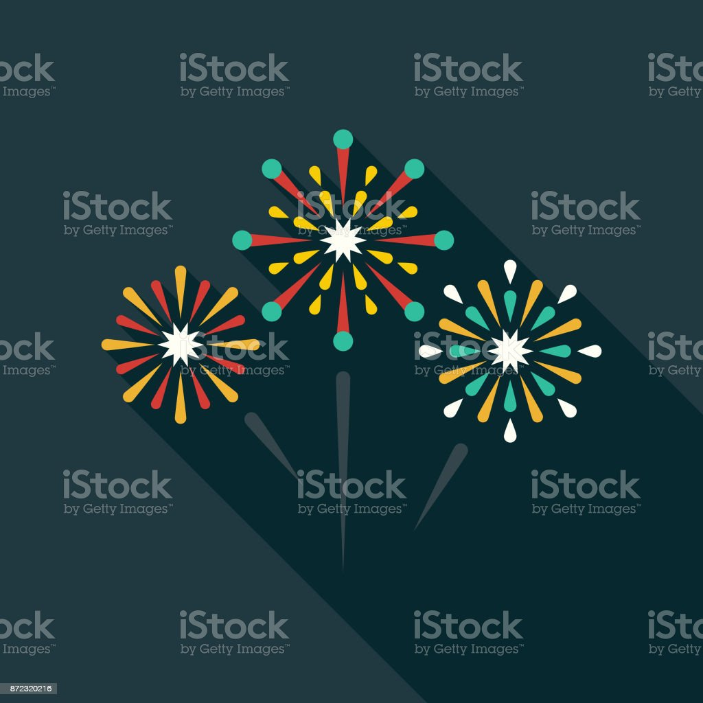 Fireworks Flat Design Party Icon with Side Shadow vector art illustration